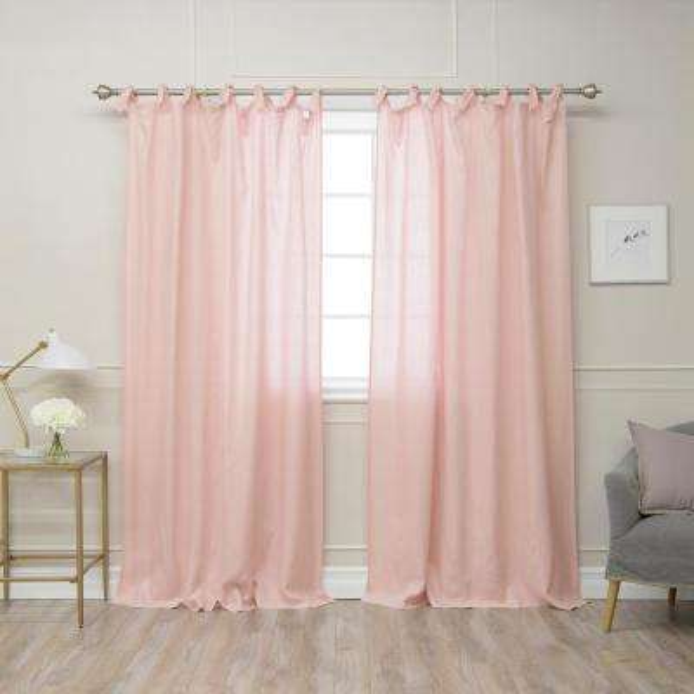 Pink 84 in L Abelia Belgian Flax Linen Romantic Tie Top Curtain Panel