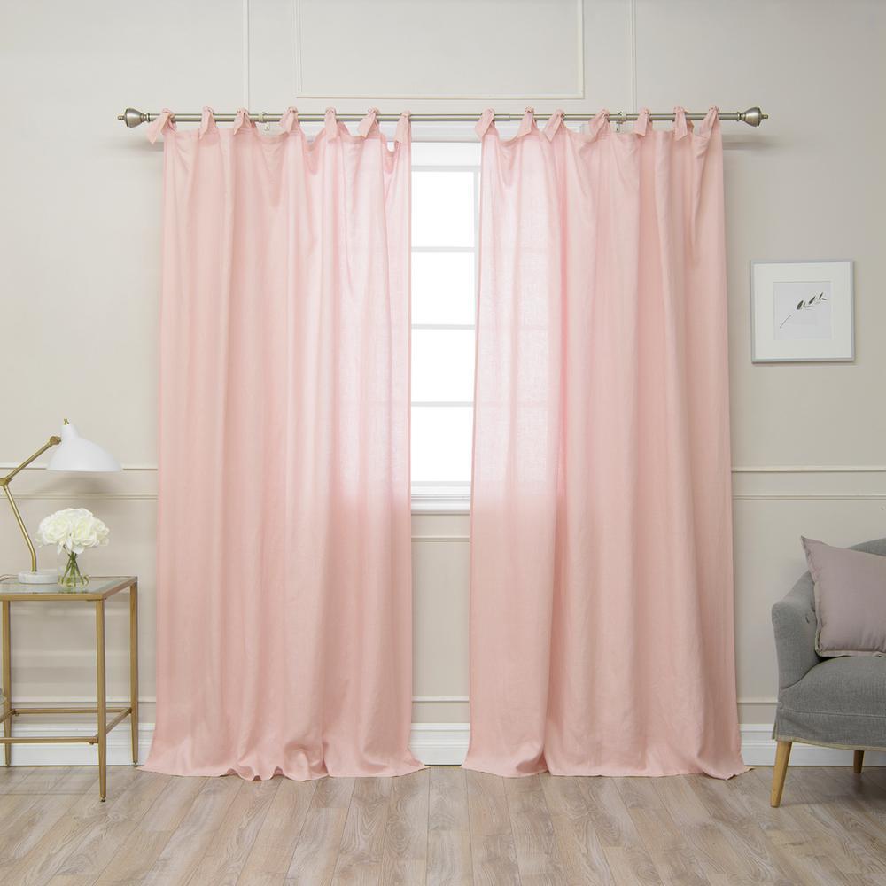 Pink 96 in. L Abelia Belgian Flax Linen Romantic Tie Top Curtain Panel