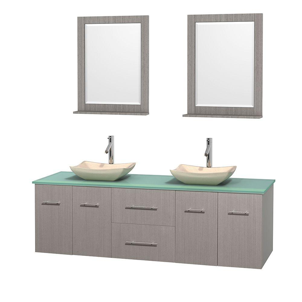 Wyndham Collection Centra 72 in. Double Vanity in Gray Oak with Glass Vanity Top in Green, Ivory Marble Sinks and 24 in. Mirrors