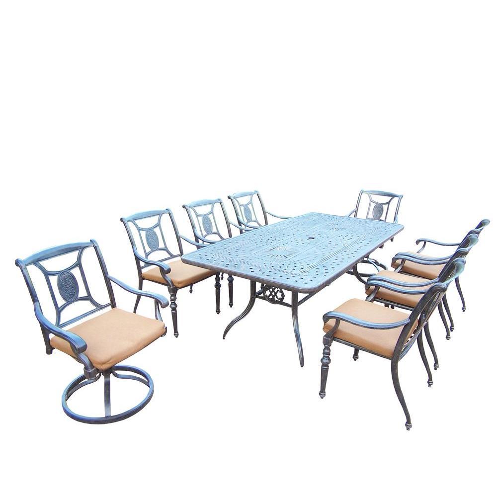 9-Piece Rectangular Cast Aluminum Patio Dining Set with Sunbrella Canvas Teak
