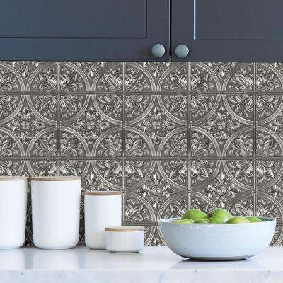 Chelsea Silver Faux Metallic Tile Wall Decals
