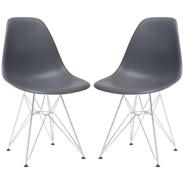 Poly and Bark Padget Grey Side Chair (Set of 2) EM-104-CRM-GRY-X2