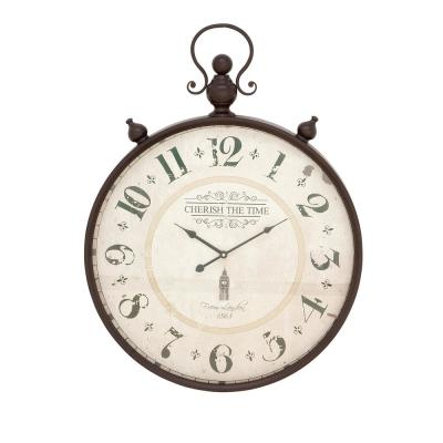 LITTON LANE 31 x 23 in. Traditional Classic Round Iron Framed Wall Clock, White