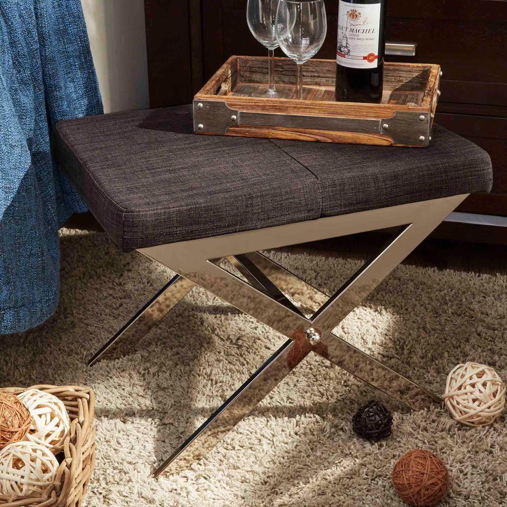 Richardson Charcoal Linen Vanity Stool