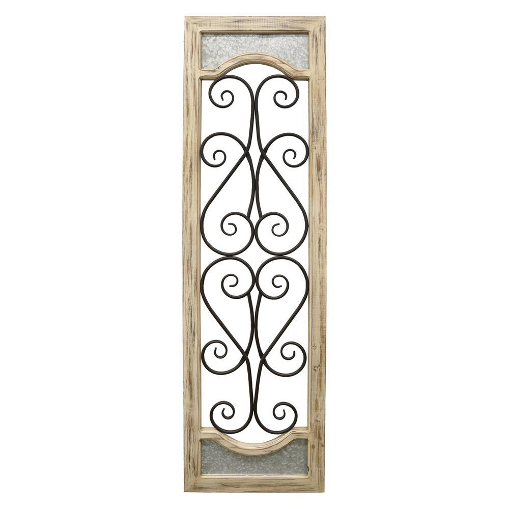 Wood And Metal Wall Decor Three Hands Brown Woodmetal Wall Decor76397  The Home Depot