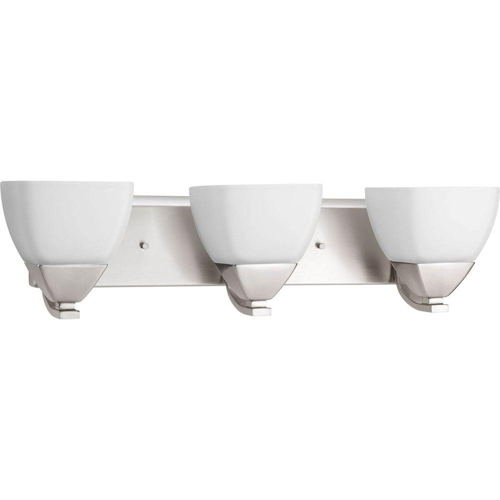 Appeal Collection 3-Light Brushed Nickel Vanity Light with Etched White Glass