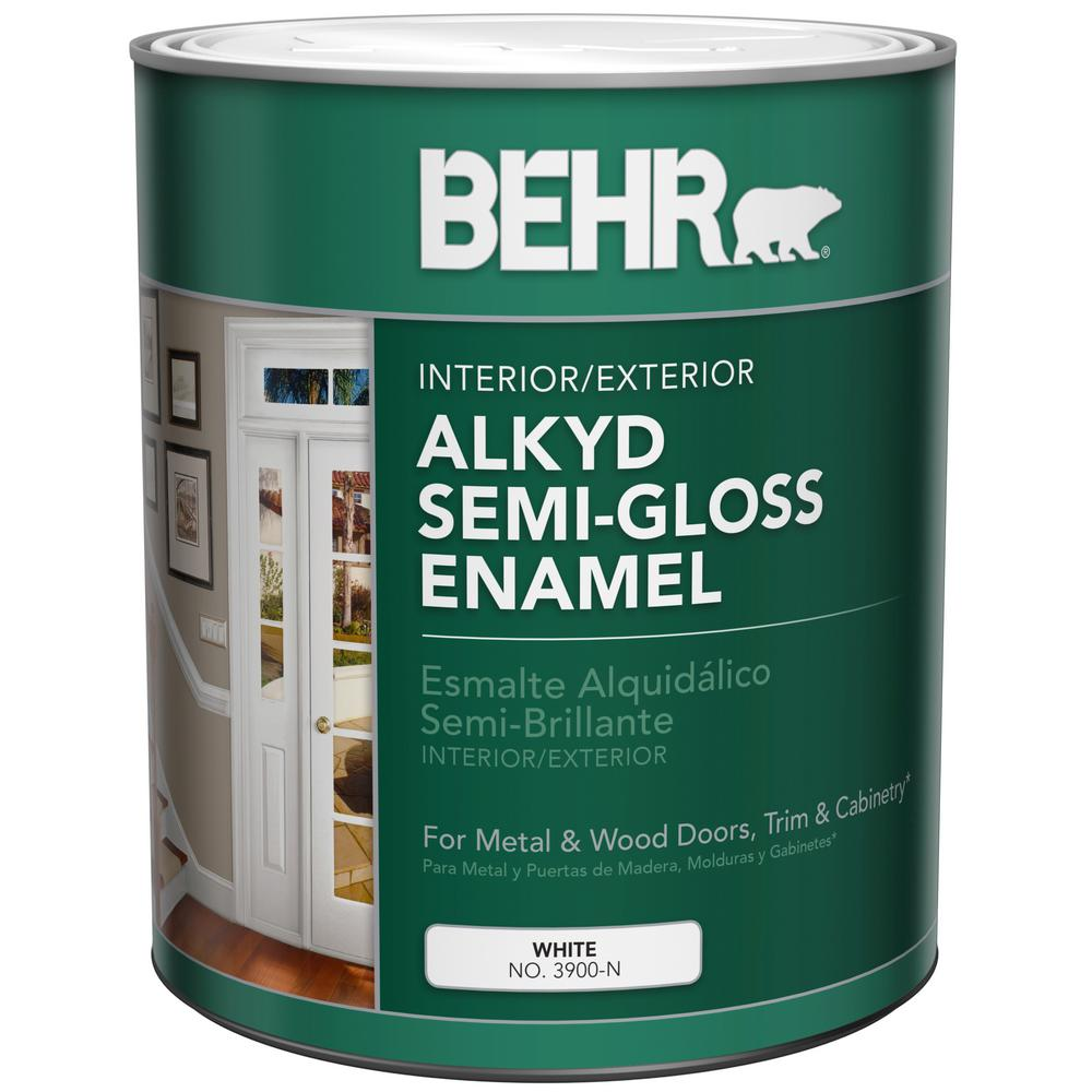 Behr 1 Qt White Alkyd Semi Gloss Enamel Interior Exterior Paint 390004 The Home Depot