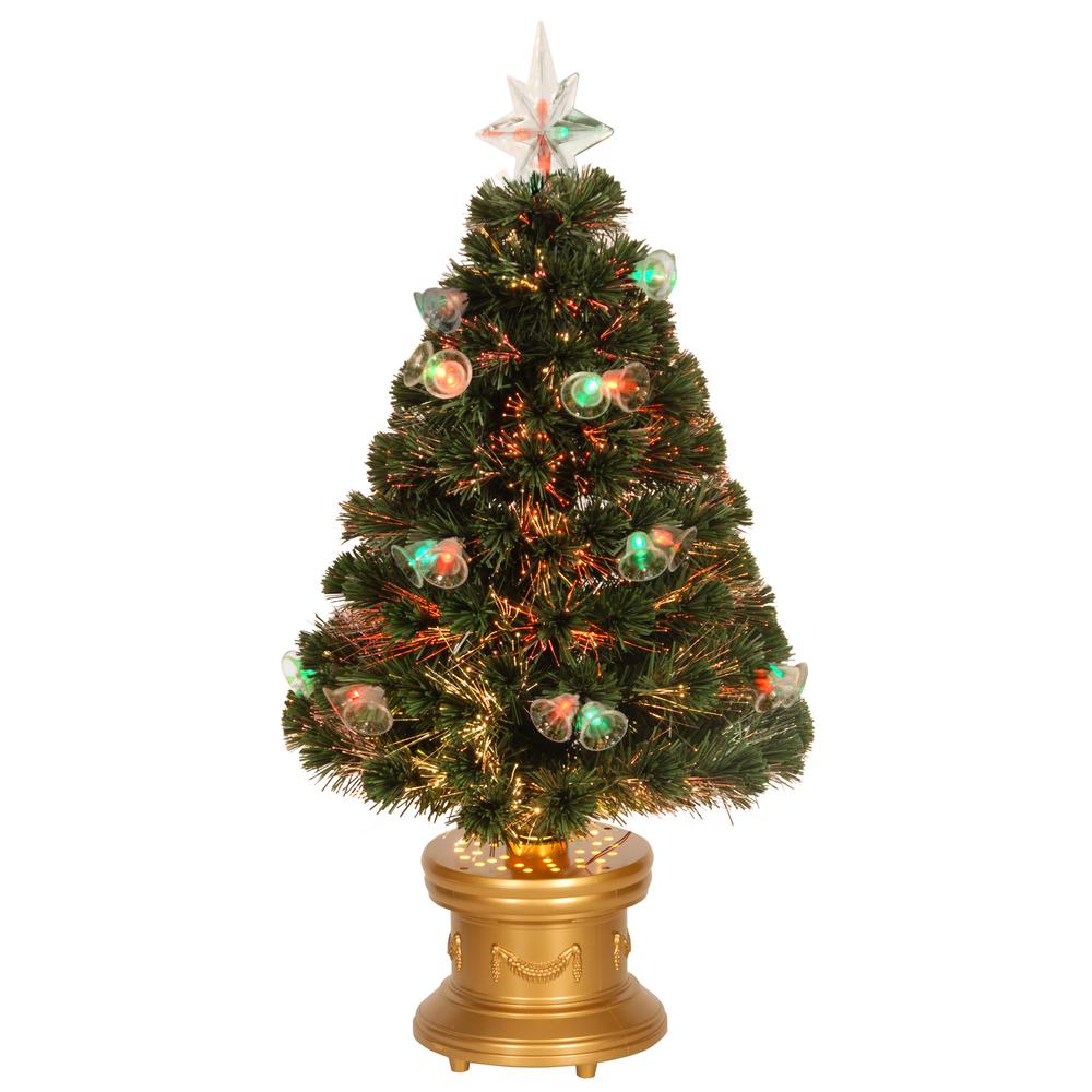 fiber optic double bell artificial christmas tree