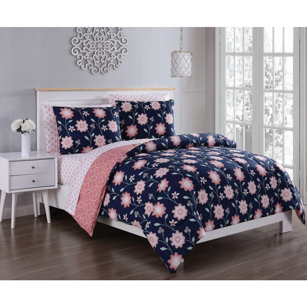 Britt 7-Piece Navy/Coral Queen Bed in a Bag Set