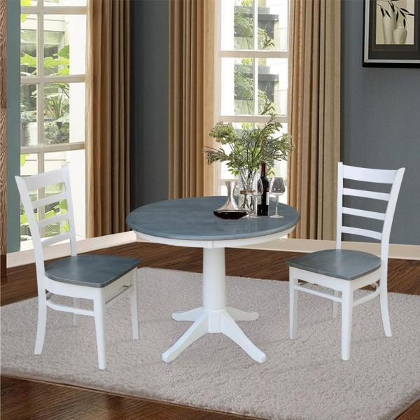 International Concepts 36 In Round Top Heather Gray And White Solid Wood Dining Table K05 36rt 27b The Home Depot