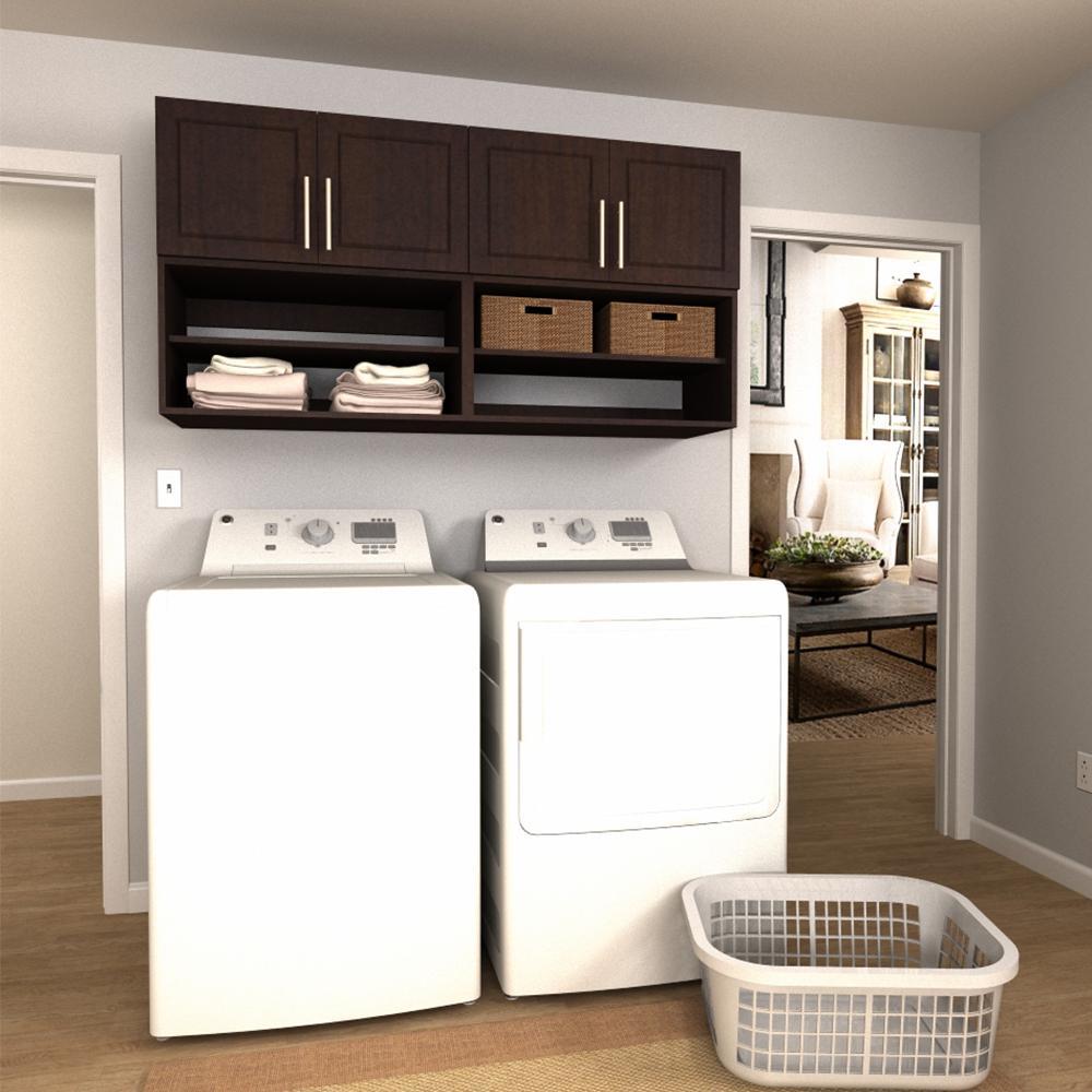 Madison 60 in. W Mocha Open Shelves Laundry Cabinet Kit