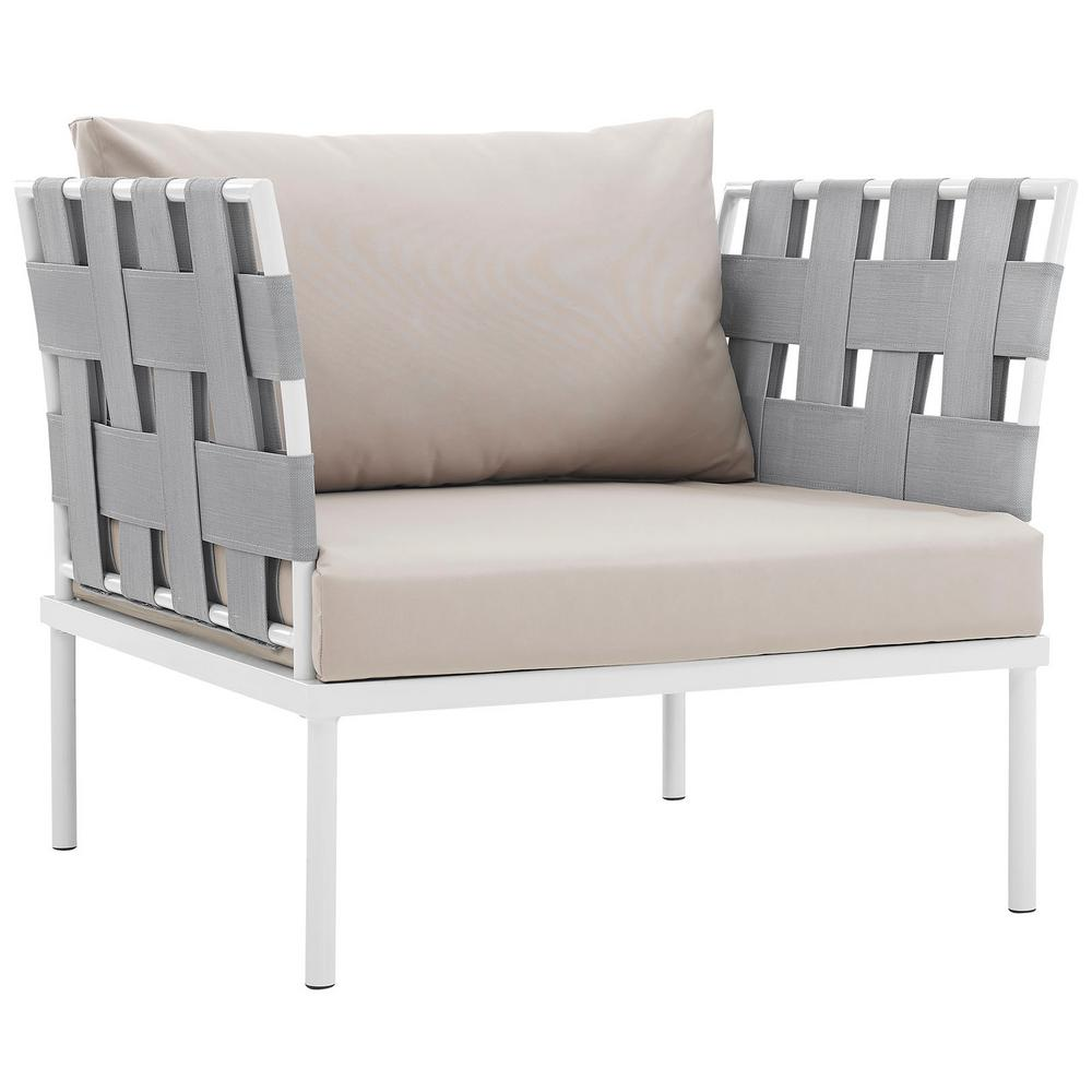 Harmony Aluminum Outdoor Patio Lounge Chair in White with Beige Cushions