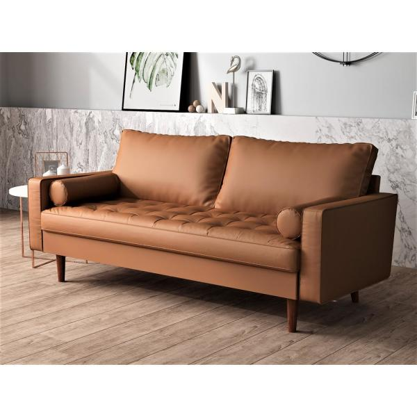 Lincoln Brown Tufted Seat Sofa S5453 S