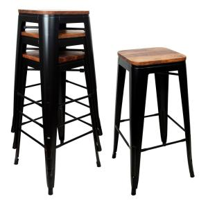 Phenomenal Amerihome 30 In Black Bar Stool Set With Rosewood Top 4 Cjindustries Chair Design For Home Cjindustriesco