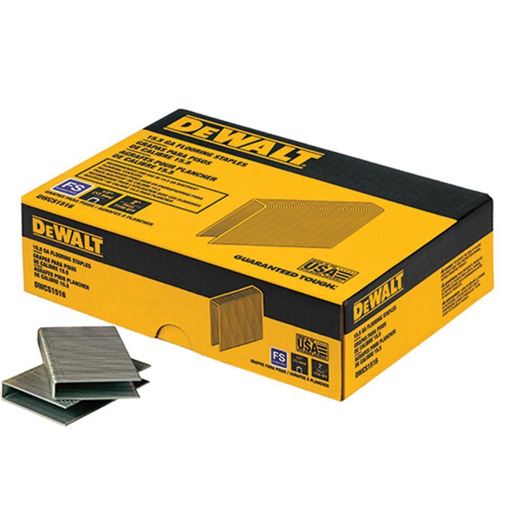 DEWALT 1/2 in. x 2 in.15.5-Gauge Crown Glue Collated Flooring Staple (1,000 per Box)