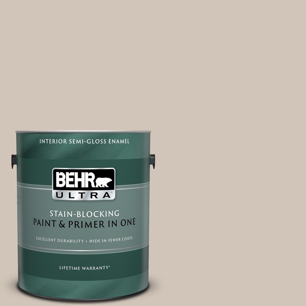BEHR ULTRA 1 gal  #PWN-70 Indulgent Mocha Semi-Gloss Enamel Interior Paint  and Primer in One