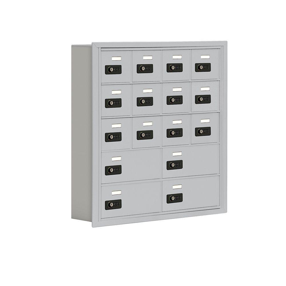 Salsbury Industries 19000 Series 30.5 in. W x 31 in. H x 5.75 in. D 12 A/4 B Doors R-Mount Resettable Locks Cell Phone Locker in Aluminum