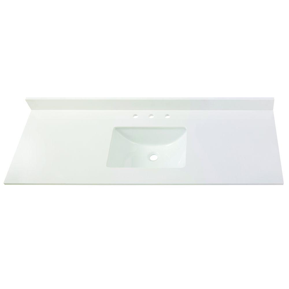 61 in. W Engineered Marble Single Basin Vanity Top in Winter