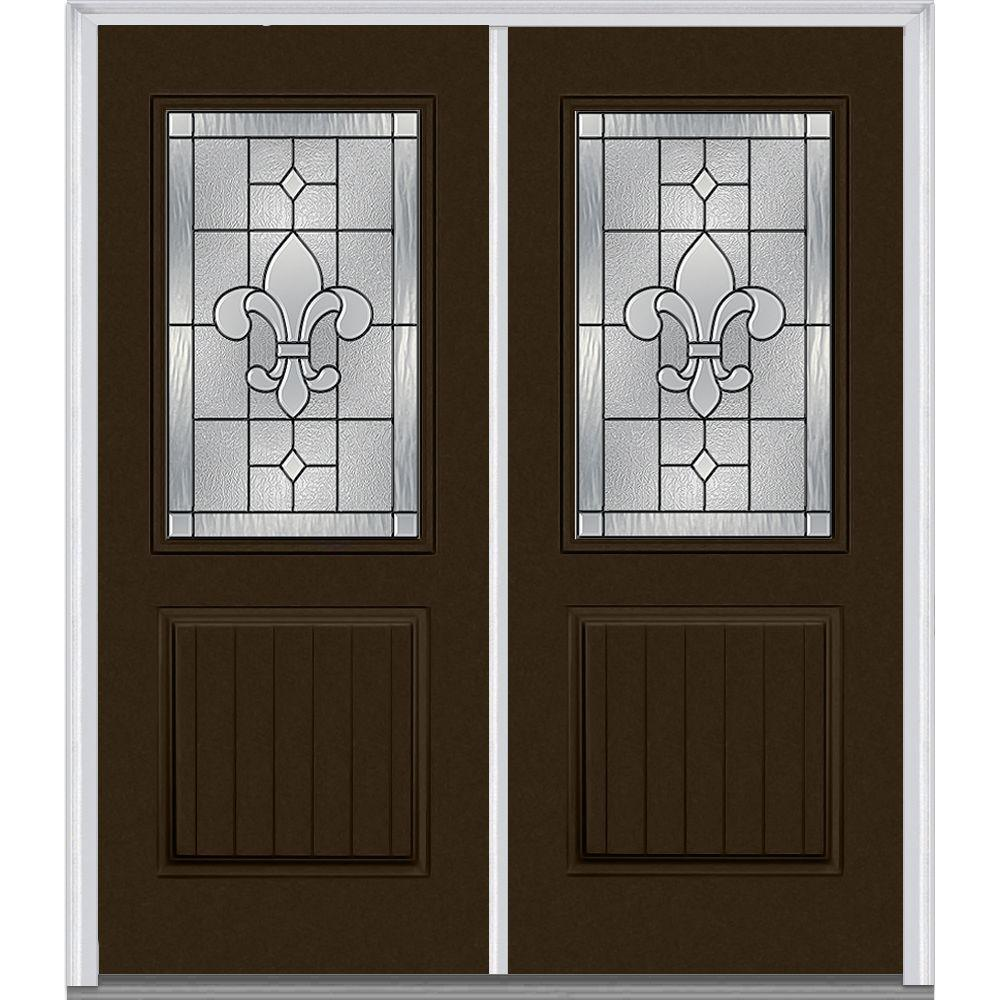 72 in. x 80 in. Carrollton Left-Hand Inswing 1/2-Lite Decorative 1-Panel