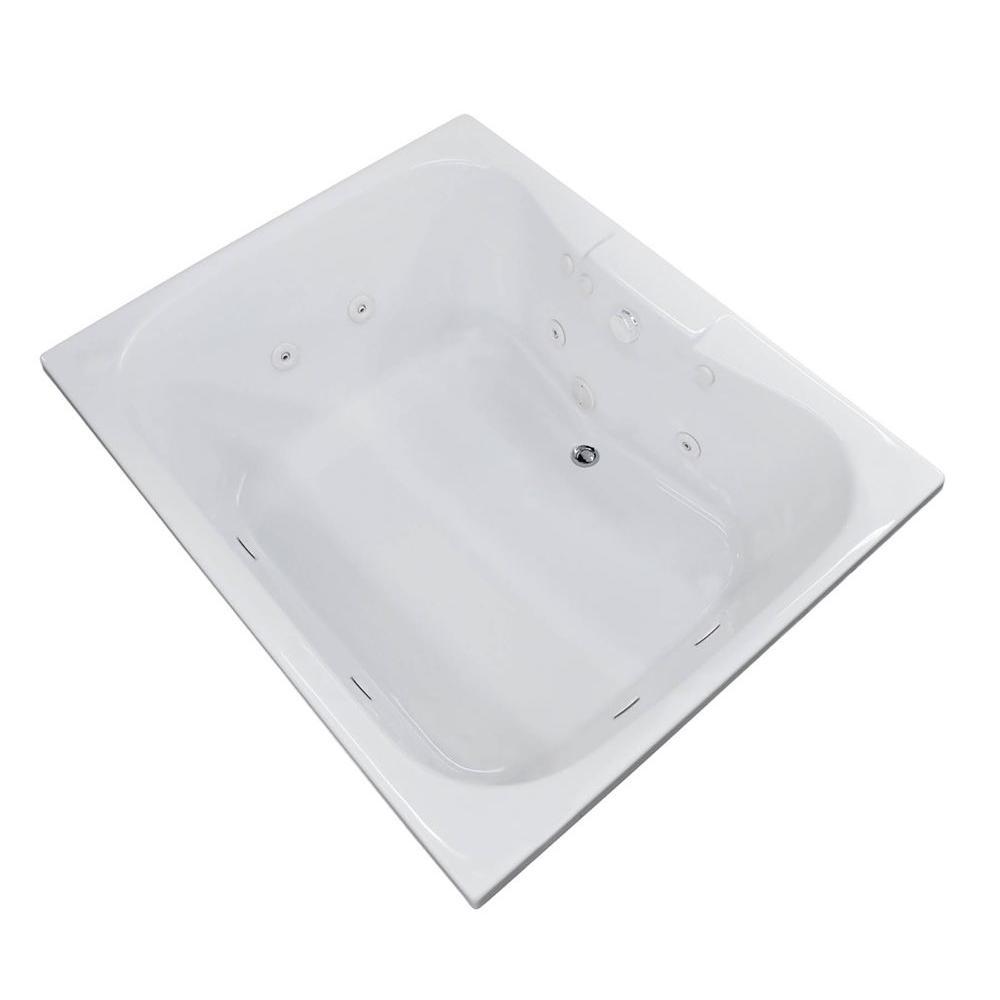 Rhode 5 ft. Rectangular Drop-in Whirlpool Bathtub in White