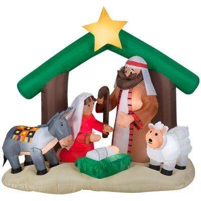 6 ft. Pre-lit Inflatable Holy Family Nativity Scene
