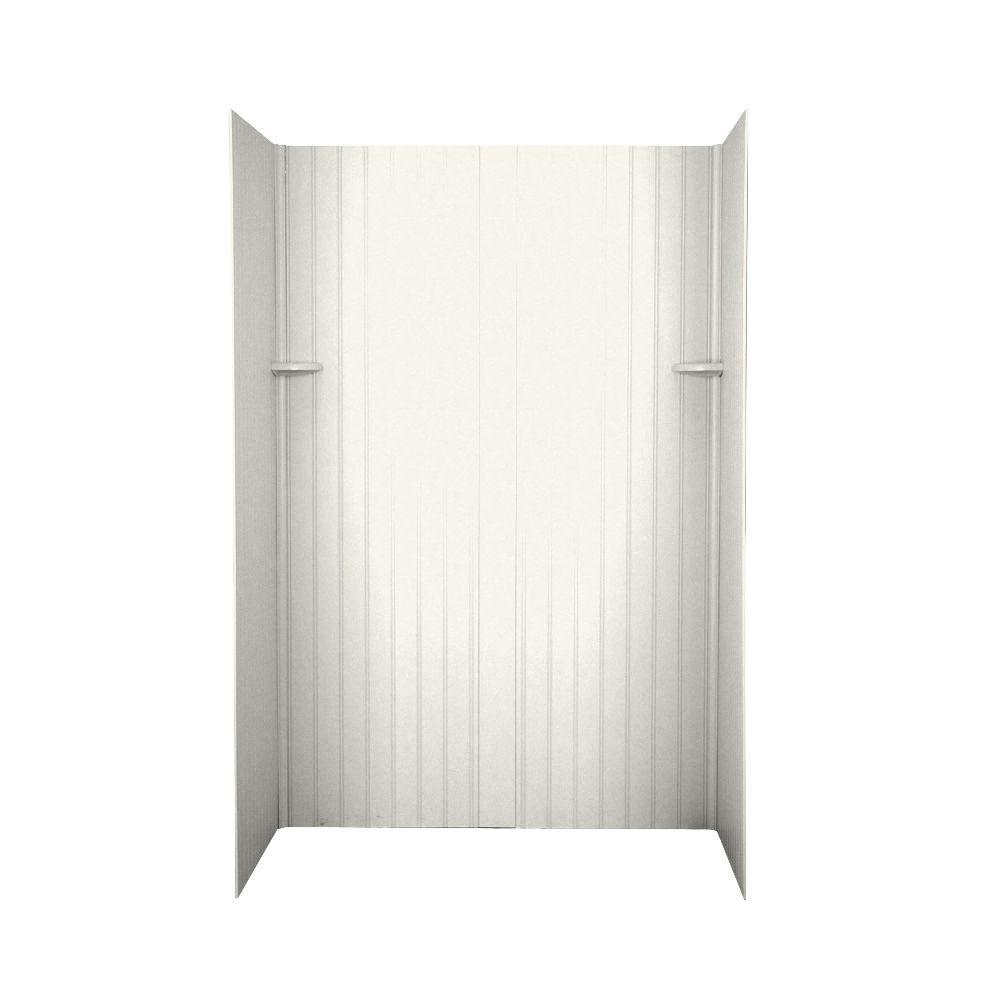 Swanstone Beadboard 34 in. x 60 in. x 72 in. Four Piece Easy Up Adhesive Shower Wall Kit in Tahiti Ivory-DISCONTINUED