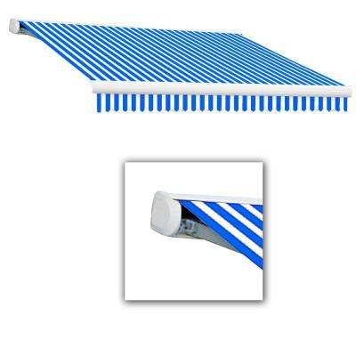 8 ft. Key West Full Cassette Right Side Motorized Retractable Awning (84 in. Projection) in Bright Blue/White
