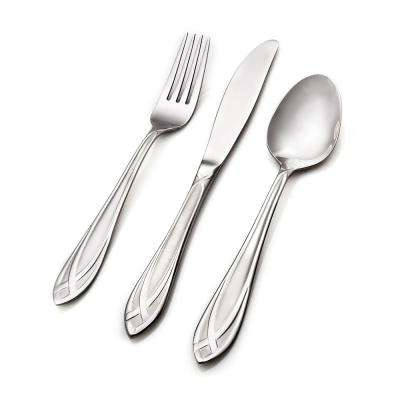 Lace Frosted 54-Piece 18/0 Stainless Steel Flatware Set with Wood Caddy