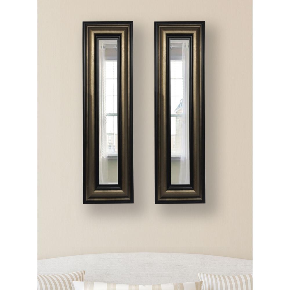 19 in. x 33 in. Stepped Antiqued Vanity Mirror (Set of 2-Panels)