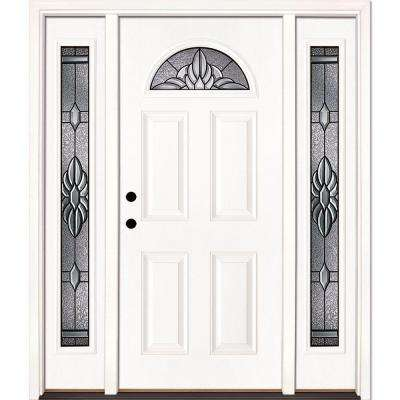 63.5 in. x 81.625 in. Sapphire Patina Fan Lite Unfinished Smooth Right-Hand Fiberglass Prehung Front Door with Sidelites