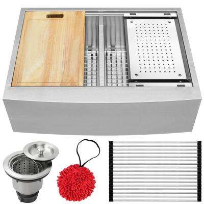 Bryce Zero Radius Farmhouse Apron Front 16-Gauge Stainless Steel 30 in. Double Basin Kitchen Sink with Accessory Kit