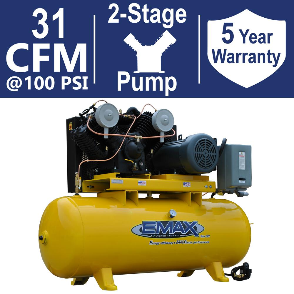 Industrial PLUS Series 80 Gal. 7.5 HP 1-Phase 2 Stage Horizontal