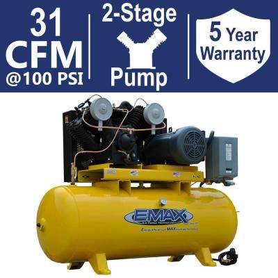 Industrial PLUS Series 80 Gal. 7.5 HP 1-Phase 2 Stage Horizontal Stationary Electric Air Compressor