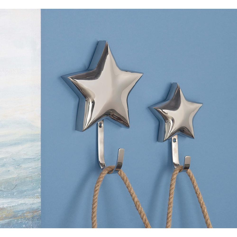 Silver Stainless Steel 3D Star Wall Hooks (Set of 2)