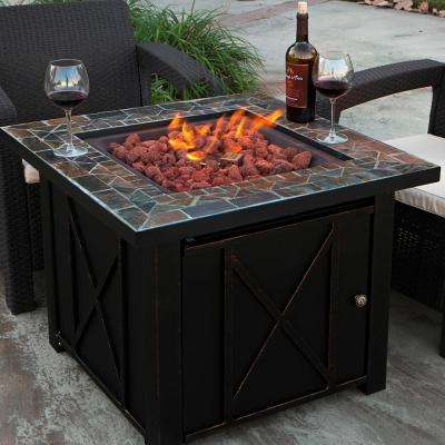 29 in. x 28 in. Square Aluminum Propane Fire Pit with Tile and Cover