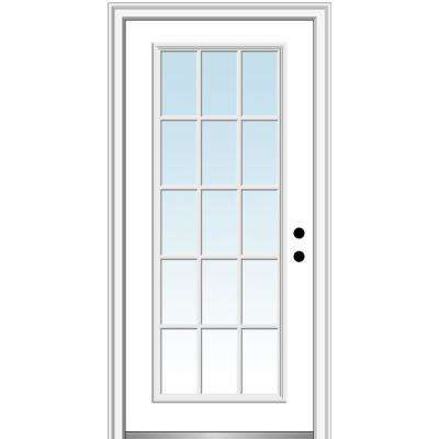 32 in. x 80 in. Left-Hand Inswing 15-Lite Clear Classic External Grilles Primed Fiberglass Smooth Prehung Front Door