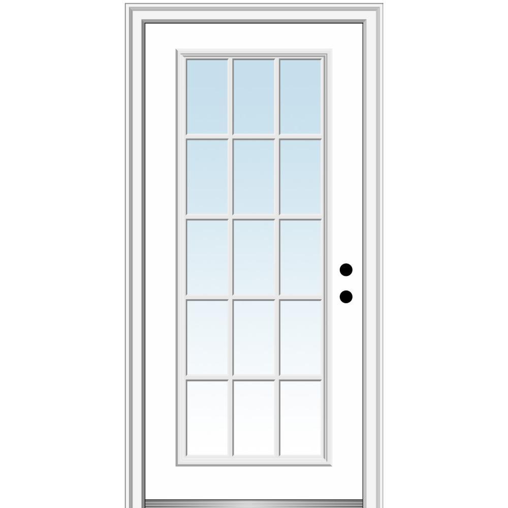 36 in. x 80 in. Left-Hand Inswing 15-Lite Clear Classic External Grilles Primed Fiberglass Smooth Prehung Front Door