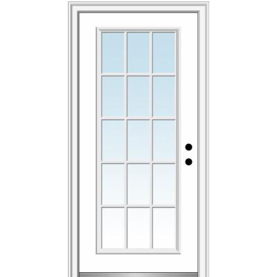 36 in. x 80 in. Classic Left-Hand Inswing 15-Lite Clear Glass Primed Steel Prehung Front Door on 4-9/16 in. Frame