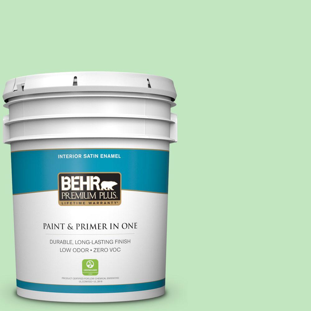 BEHR Premium Plus 5-gal. #450A-3 Mountain Mint Zero VOC Satin Enamel Interior Paint