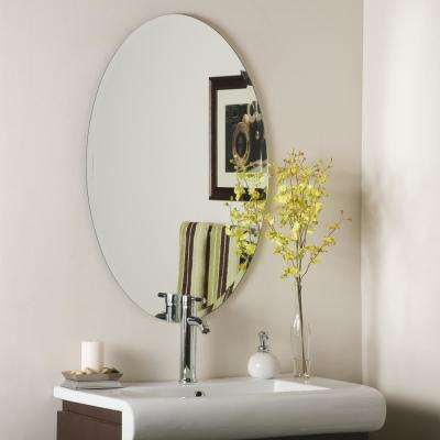 36 in. x 24 in. Oval Helmer Oval Bevel Frameless Wall Mirror with Beveled Edge