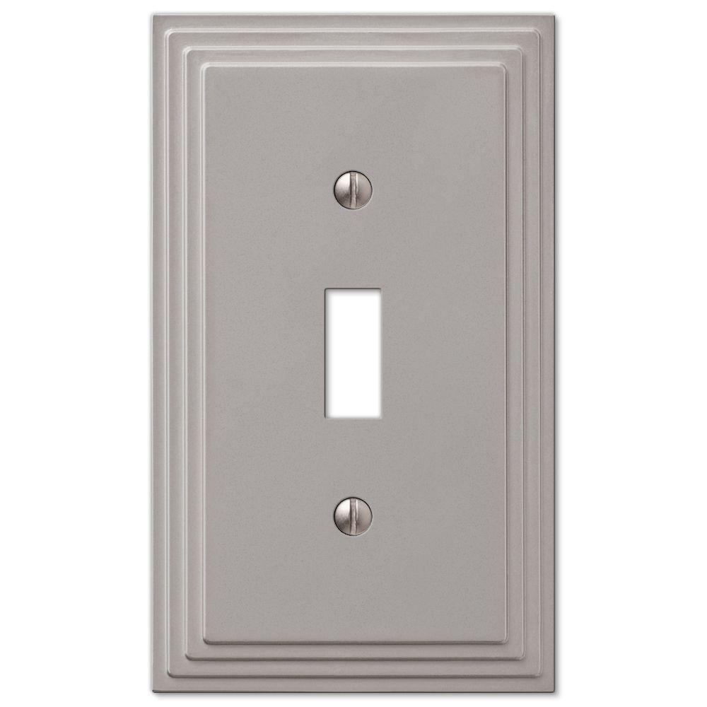 Tiered 1-Toggle Wall Plate - Satin Nickel Cast