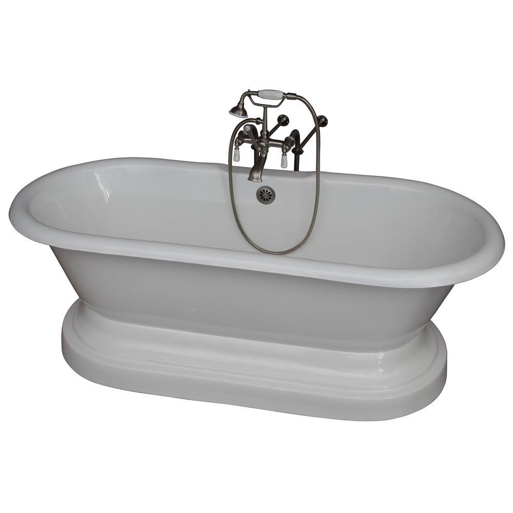 Barclay products 5 6 ft cast iron double roll top tub in for Best bathtub accessories