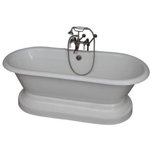Barclay Products 5.6 ft. Cast Iron Double Roll Top Tub in White with Brushed Nickel Accessories by Barclay Products
