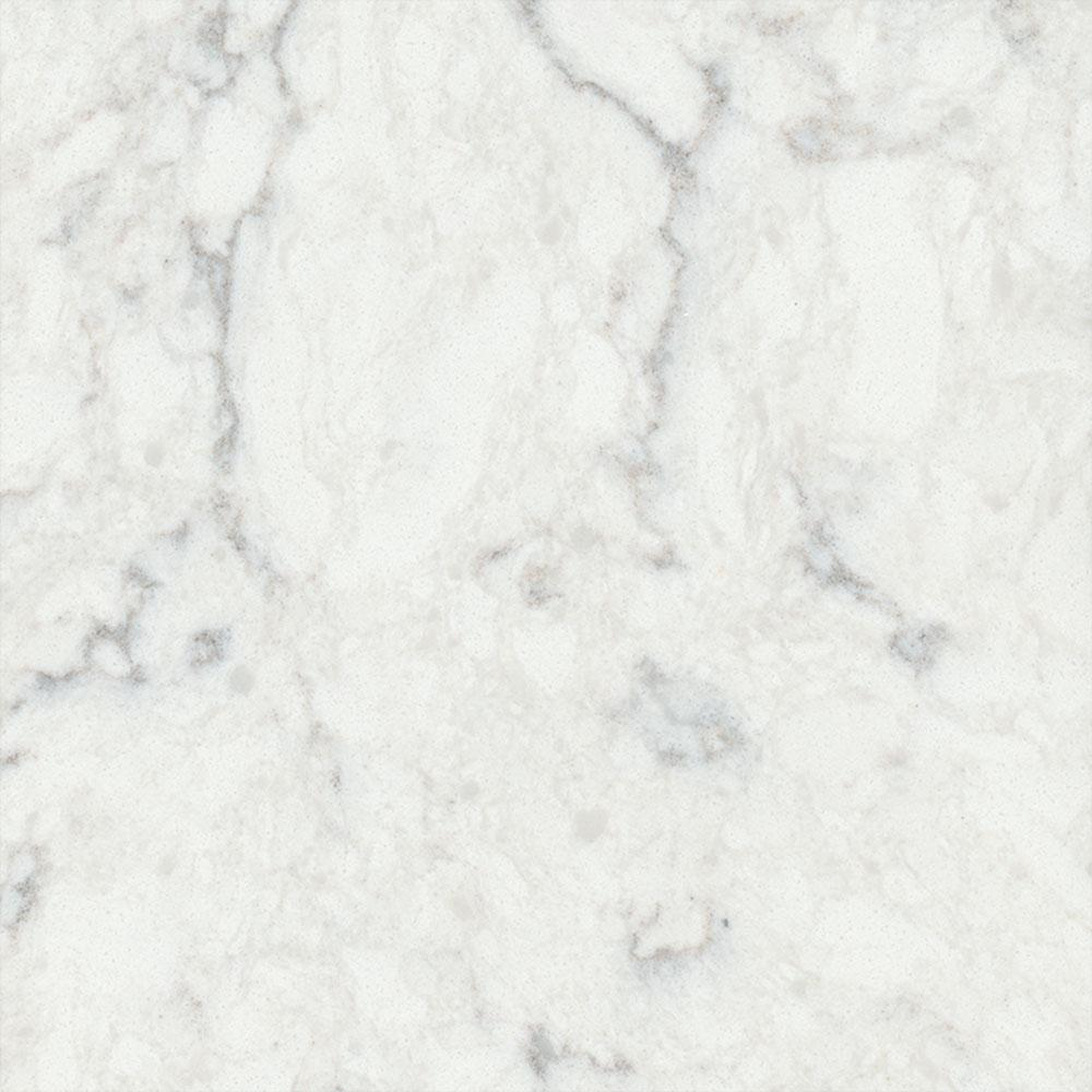 LG Hausys Viatera 3 in. x 3 in. Quartz Countertop Sample in Minuet on white laminate, white bathroom fixtures, white garages, white floors, white flooring, white lighting, white faucets, white baseboards, white tubs, white tile, white millwork, white lumber, white concrete, white gutters,