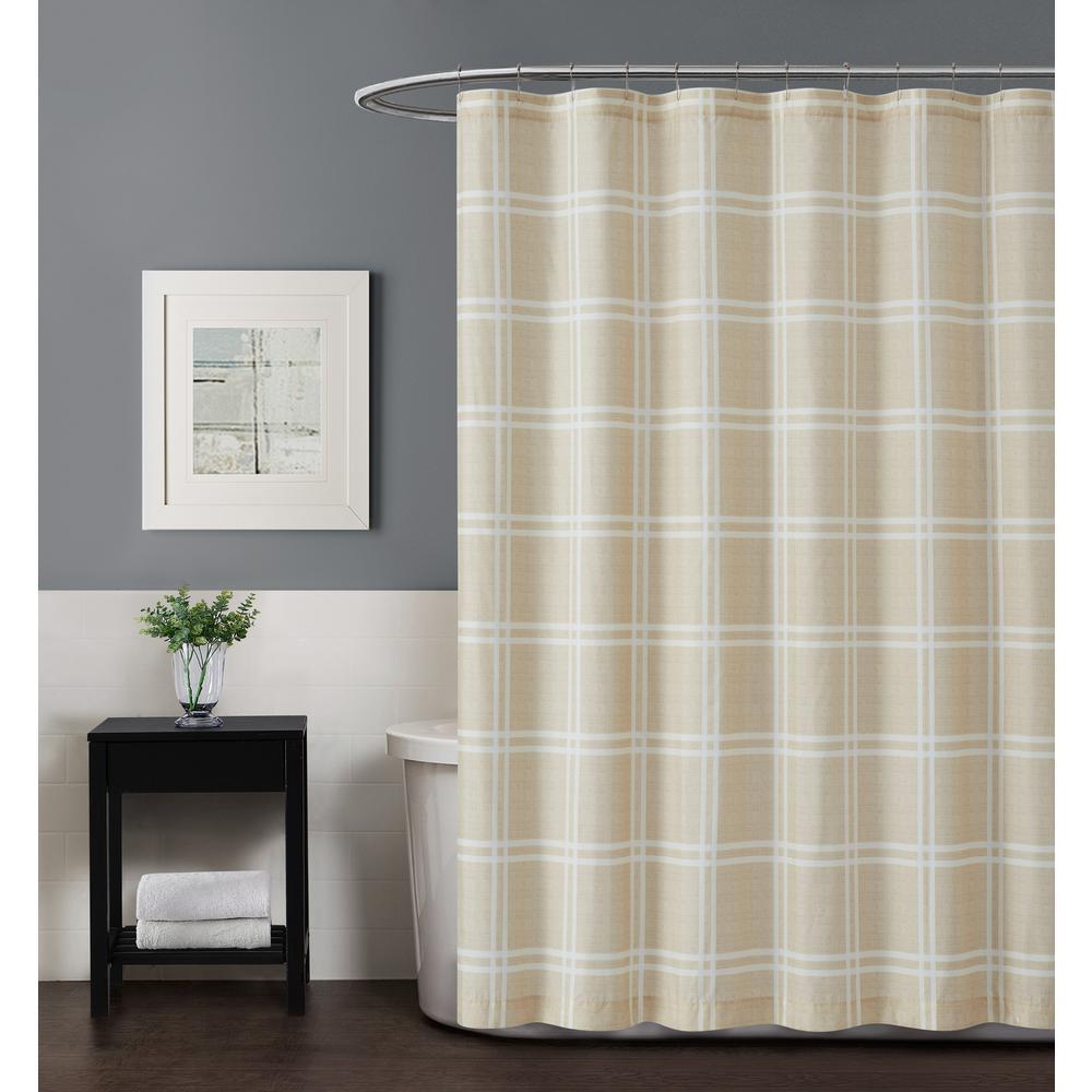 Leon Plaid 72 in. Khaki Shower Curtain