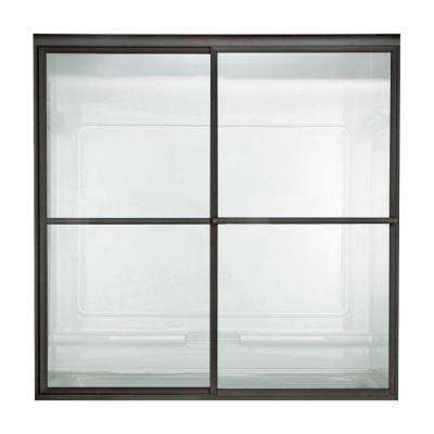 56 in. to 60 in. x 71.5 in. Opening Prestige Framed Sliding Shower Door in Oil Rubbed Bronze with Clear Glass
