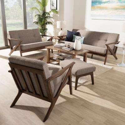 Bianca 4-Piece Light Grey/Walnut Brown Living Room Set