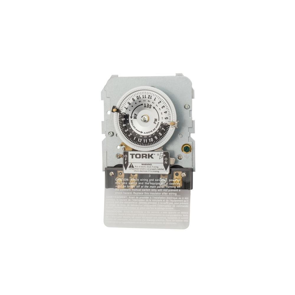 TORK 1100-Series 24-Hour 4800-Watt SPST Mechanical Timer Mechanism and IAP Adapter Plate in Grey