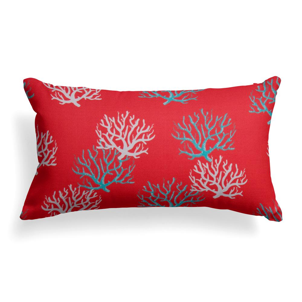 Grouchy Goose Reef Coral Lumbar Outdoor Throw Pillow