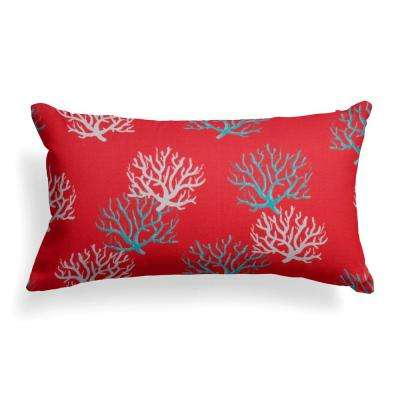 Reef Coral Lumbar Outdoor Throw Pillow